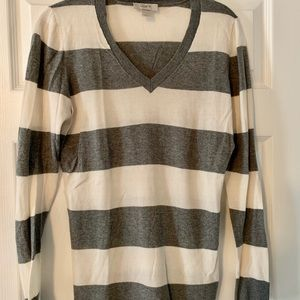 Gray and White LOFT v neck sweater